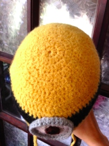 felted minion hat top view