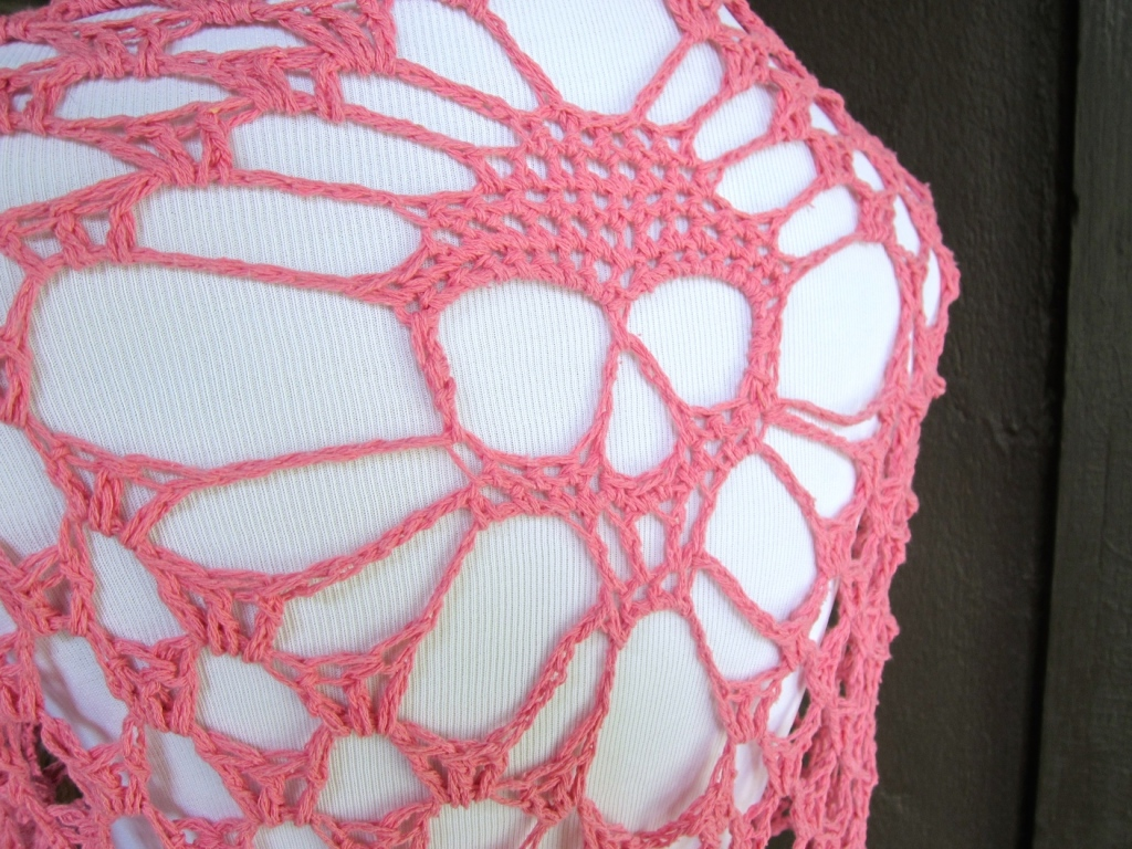 Pink Silk Skull Shawl Close up