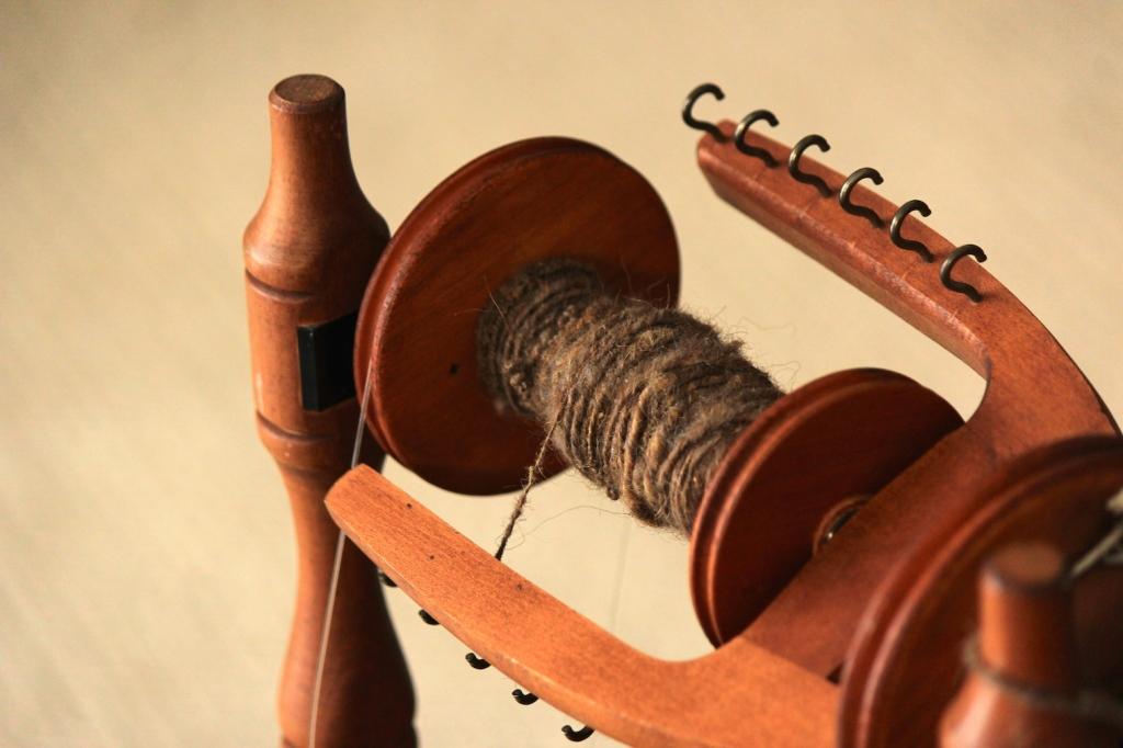In process: my very first handspun skein of yarn!