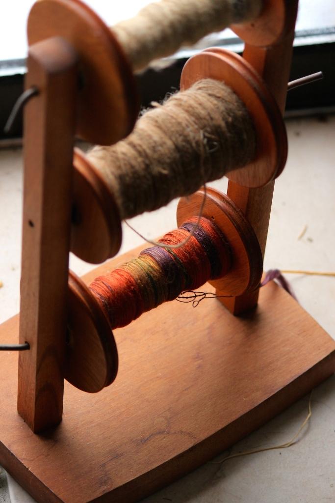 Top: Spun Shetland wool Bottom: Spun 100% silk