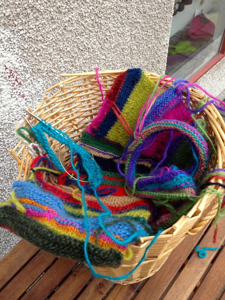 Handknitter's Association in Reykjavik - Communal knitting projects out front!