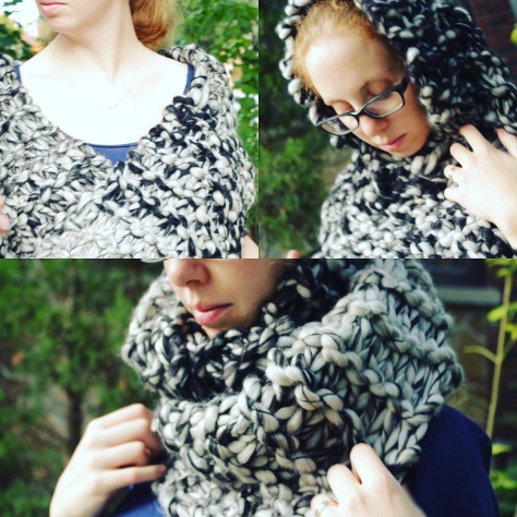 black and white super bulky cowl