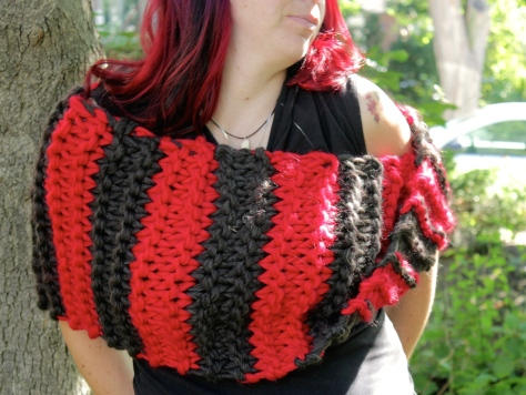 red and black bulky cowl